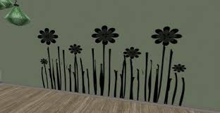 Second Life Marketplace Whimsy Black Daisy Grass Flowers Wall Decal