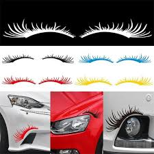 25 11cm New Set Of Two Eyelashes Car Sticker For Truck Window Bumper Suv Door Kayak Vinyl Decal 3 Colors Wish