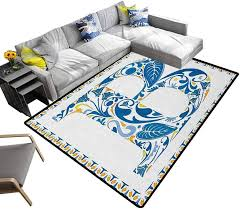 Amazon Com Printed Area Rug Letter B Super Soft Faux Area Rugs European Art Elements Floral B Letter In Alphabet Natural Inspirations For Living Room Kids Room Home Decor Blue Yellow Orange 6 5