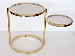 brass glass 2 tier swivel side table 4
