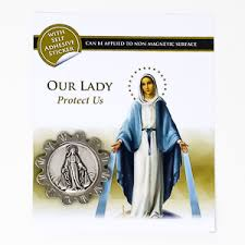 Direct From Lourdes Miraculous Magnetic Car Plaque With Adhesive Sticker