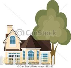 Cute Little House Cartoon House With A Beautiful Fence And Green Tree On A White Background Illustration Of The Cozy Rural