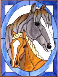 foal horses framed art glass panel 11 x 14