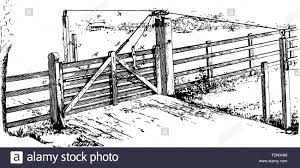 Wooden Locking Gate Entry Exit Fence Gateway Opening Passage Port Yett Vintage Line Drawing Or Engraving Illustration Stock Vector Image Art Alamy