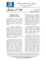 Más información - Academia Boliviana de la Lengua