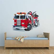 Full Colour Fire Engine Cartoon Wall Sticker Boys Bedroom Decal Transfer Wsd221 Wish