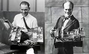 lon chaney with his makeup kit for the