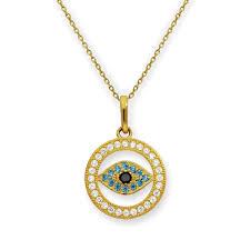 9ct gold cz evil eye circle pendant