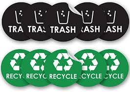 Amazon Com Recycle Trash Bin Logo Sticker 4 X 4 Organize Coordinate Garbage Waste From Recycling Great For Metal Aluminum Steel Or Plastic Trash Cans Indoor Outdoor