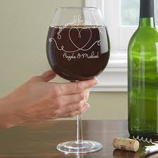 personalized full bottle wine glass