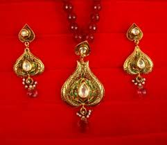 pendant earring set with maroon onyx