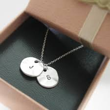 initial double round pendant necklace
