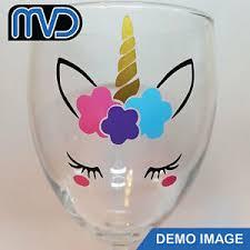 Unicorn Face Vinyl Decal Sticker Easter Baubles Girls Decoration Wine Glass Ebay