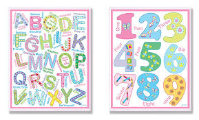 Amazon Com The Kids Room By Stupell 2 Piece Letters And Numbers Wall Plaque Set Bright Colors Baby