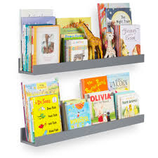 Wallniture Denver 34 Gray Wall Shelf For Kids Room Floating Wall Shelf For Book Display With High Lip Set Of 2 Walmart Com Walmart Com