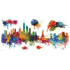 Ebern Designs New York City Watercolor Skyline Peel And Stick Giant Wall Decal Wayfair