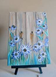 Flower Painting Fence Flowers Canvas Painting Etsy Flower Painting Canvas Wood Art Painting On Wood