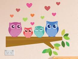 Owl Family Wall Stickers Removable Fabric Wall Decals Peel Etsy