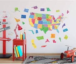 Amazon Com Wallies Vinyl Wall Decals Us State Map Wall Stickers For Kid S Bedrooms Playrooms And Classrooms 51 Pc Home Kitchen