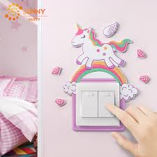 Cartoon Animal Unicorn Flamingo Switch Stickers With Luminous Switch Cover Kids Room Home Decor Removable Outlet Wall Sticker Party Diy Decorations Aliexpress