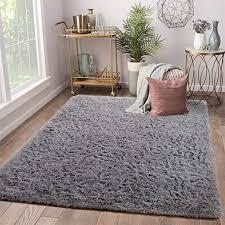 Amazon Com Terrug Super Soft Kids Room Nursery Rug Area Rugs For Children Bedroom Living Room Carpet Plush Fluffy Fur Rug For Kids Dorm Girls Room 5x8 Feet Grey Kitchen Dining