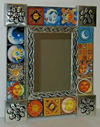 punched tin tile mirror wall art