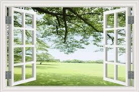Amazon Com 3d Fake Window View Green Grass Garden Landscape Self Adhesive Pvc Wall Stickers Home Kitchen