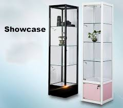 square glass showcase tower display