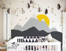 Sunrise With Gold Triangles Grey Mountain Scenery Nursery Wall Decal Kinds Room Stickers Bedroom Wal Kids Room Murals Baby Boy Rooms Wall Decals For Bedroom