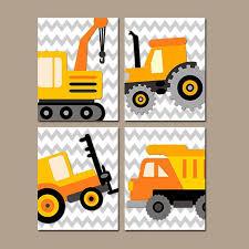 Construction Boy Wall Art Nursery Child Artwork Transportation Orange Dump Truck Forklift Tractor Chevron Baby Boy Nursery Decor Boy Wall Art Nursery Room Boy