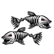 2pc Waterproof Skeleton Fish Vinyl Sticker Decal For Car Boat Motorbike Sticker Fishing Decals Stickers Aliexpress