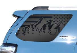 Amazon Com Outdoor Forest Mountain Scene Usa Flag Decals For Toyota 4runner In Matte Black For Side Windows Tf23 Ma Handmade