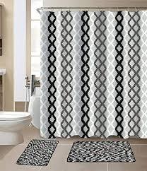 white striped bathroom rug set