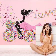 Shijuekongjian Cartoon Girl Wall Stickers Vinyl Diy Flower Bicycle Wall Decals For House Kids Room Baby Bedroom Decoration Wall Stickers Aliexpress