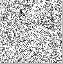 Hearts Abstract Doodle Zentangle Paisley Coloring Pages Colouring