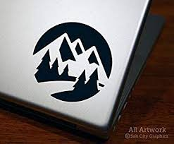 Amazon Com Mountain Scene Nature Decal Laptop Decal Tablet Decal 4 Inches Wide Custom Color Computers Accessories