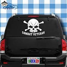 Amazon Com Car Decal Geek Combat Veteran Skull Military Vinyl Decal Sticker Bumper Cling For Car Truck Window Laptop Macbook Wall Cooler Tumbler Die Cut No Background Multi Sizes Colors Green 8 Automotive