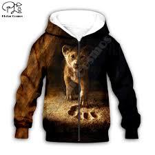 Simba The Lion King cartoon hoodie Kids baby 3D print zipper ...