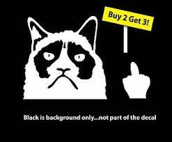 Grumpy Cat Flipping Off Vinyl Decal Sticker Ebay