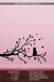 Cat On Tree Branch Wall Decal Tree Silhouette Wall Decor Etsy