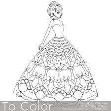 Mandala Princess Kleurplaten Voor Volwassenen Girl Coloring Etsy