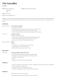 college resume template for high