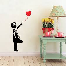 Banksy Wall Decals Balloon Girl Inspired Banksy Vinyl Wall Art Sticker Free Shipping Wall Art Stickers Wall Decalsvinyl Wall Aliexpress