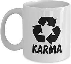 com witty coffee mug karma recycle logo yoga buddhist