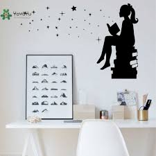 Yoyoyu Vinyl Wall Decal Girl Reading A Book Star School Library Kids Room Art Funny Home Decoration Stickers Fd589 Home Decor Stickers Decorative Stickersvinyl Wall Decals Aliexpress