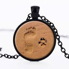glass chbochon necklace dog paw pendant