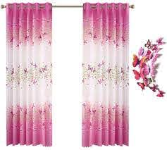 Amazon Com Lovehut Butterfly Flowers Printed Curtains For Girls Room Semi Blackout Window Curtain Panels With 3d Butterflies Grommet Window Drapes For Kids Girls Bedroom Living Room 39 X 78 Inch 2 Panels Home