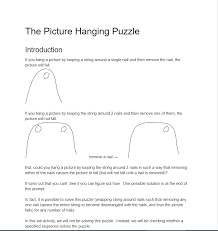 the picture hanging puzzle introduction