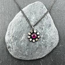 ruby and diamond flower pendant skanda
