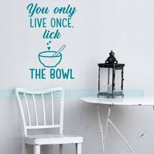 Kitchen Wall Art Decor Stickers Lick The Bowl Vinyl Letters Wall Decals